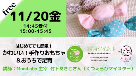【無料・オンライン】11/20(金)15:00〜はじめてでも簡単!かわいい!手作りおもちゃ&おうちで足育
